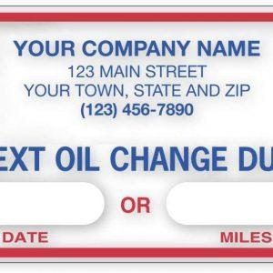 Custom oil change stickers